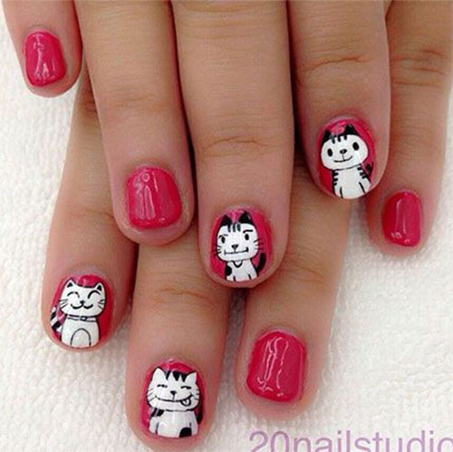 12-Cute-Scary-Halloween-Black-Cat-Nails-Art-Ideas-2018-1