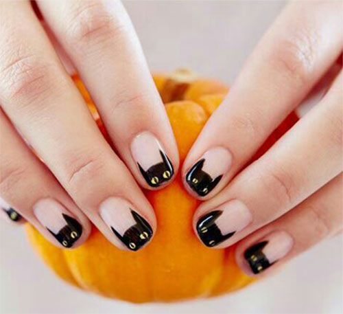 12-Cute-Scary-Halloween-Black-Cat-Nails-Art-Ideas-2018-2
