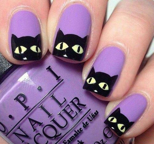 12-Cute-Scary-Halloween-Black-Cat-Nails-Art-Ideas-2018-3