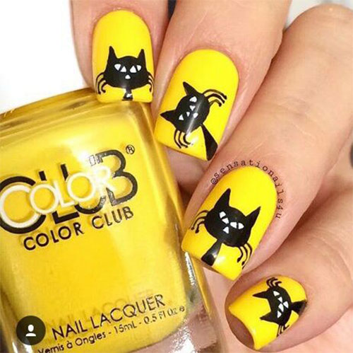 12-Cute-Scary-Halloween-Black-Cat-Nails-Art-Ideas-2018-4