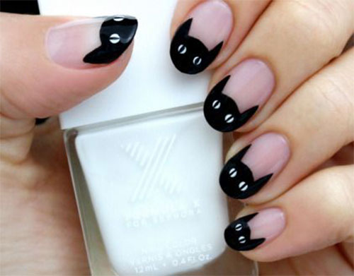 12-Cute-Scary-Halloween-Black-Cat-Nails-Art-Ideas-2018-5