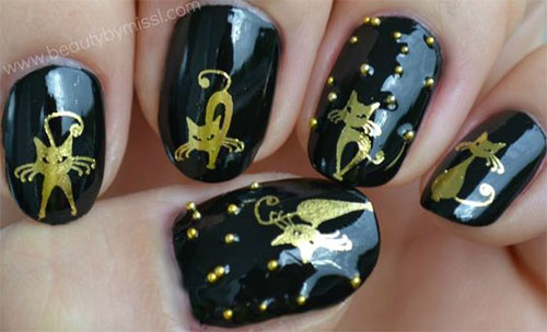 12-Cute-Scary-Halloween-Black-Cat-Nails-Art-Ideas-2018-9
