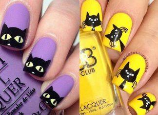 12-Cute-Scary-Halloween-Black-Cat-Nails-Art-Ideas-2018-F