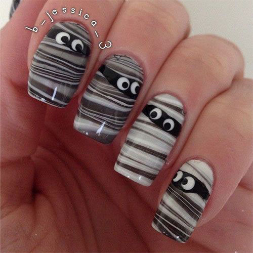 18-Creepy-Halloween-Mummy-Nails-Art-Designs-Ideas-2018-7