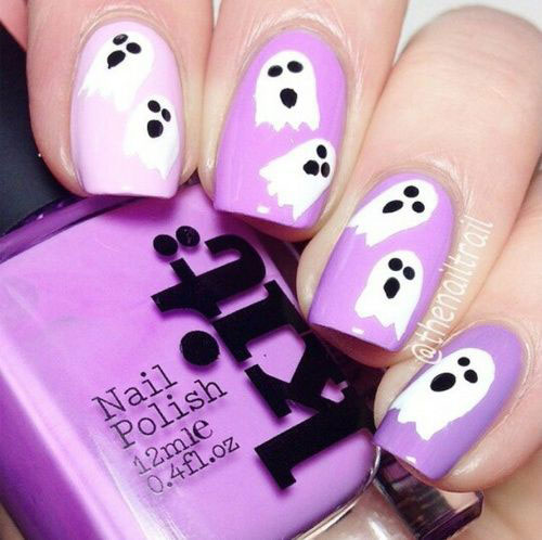 30-Spooky-Halloween-Ghosts-Nail-Art-Ideas-2018 -Boo-Nails-10