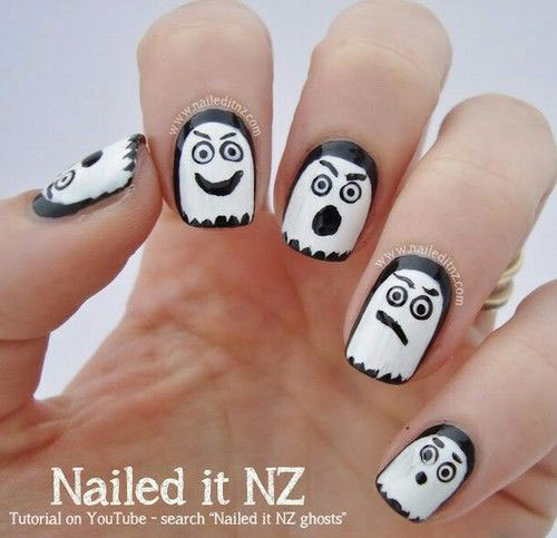 30-Spooky-Halloween-Ghosts-Nail-Art-Ideas-2018 -Boo-Nails-19