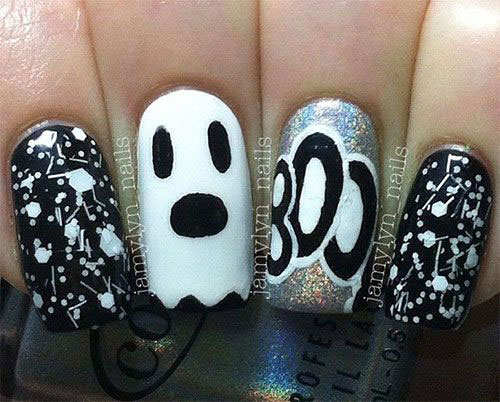 30-Spooky-Halloween-Ghosts-Nail-Art-Ideas-2018 -Boo-Nails-26