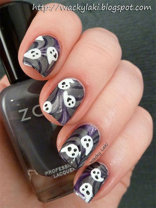 30-Spooky-Halloween-Ghosts-Nail-Art-Ideas-2018 -Boo-Nails-6