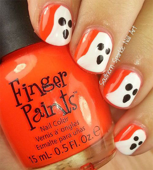 30-Spooky-Halloween-Ghosts-Nail-Art-Ideas-2018 -Boo-Nails-8