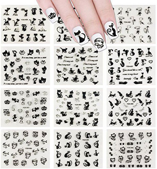 Halloween-Black-Cat-Nail-Art-Stickers-Decals-2018-1