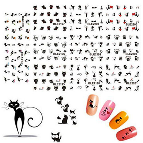 Halloween-Black-Cat-Nail-Art-Stickers-Decals-2018-2
