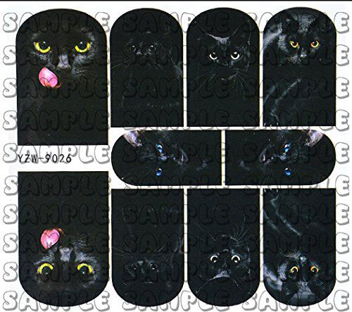 Halloween-Black-Cat-Nail-Art-Stickers-Decals-2018-5