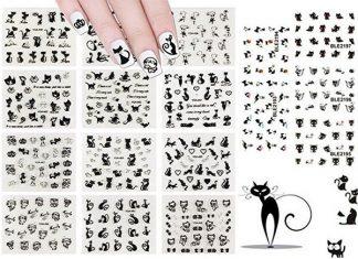 Halloween-Black-Cat-Nail-Art-Stickers-Decals-2018-F