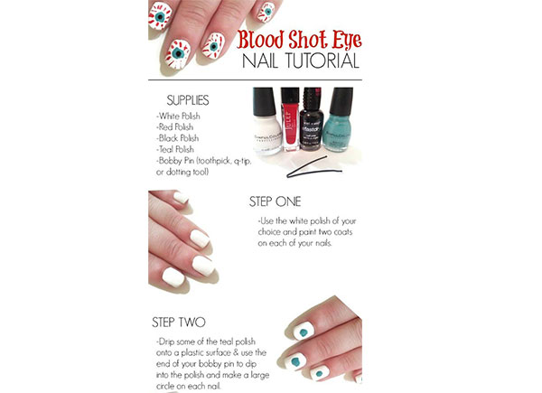 Step By Step Blood Shot Eye Halloween Nail Tutorial For ...
