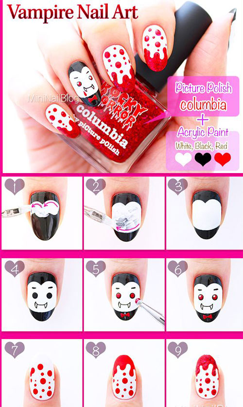 Step By Step Vampire Halloween Nail Art Tutorial For Beginners 2018 ...