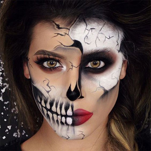 Halloween Make Up Skelet.20 Skull Skeleton Halloween Makeup Ideas Looks 2018