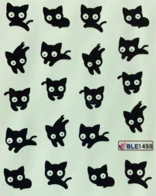 12-Halloween-Black-Cat-Nail-Art-Stickers-2019-3