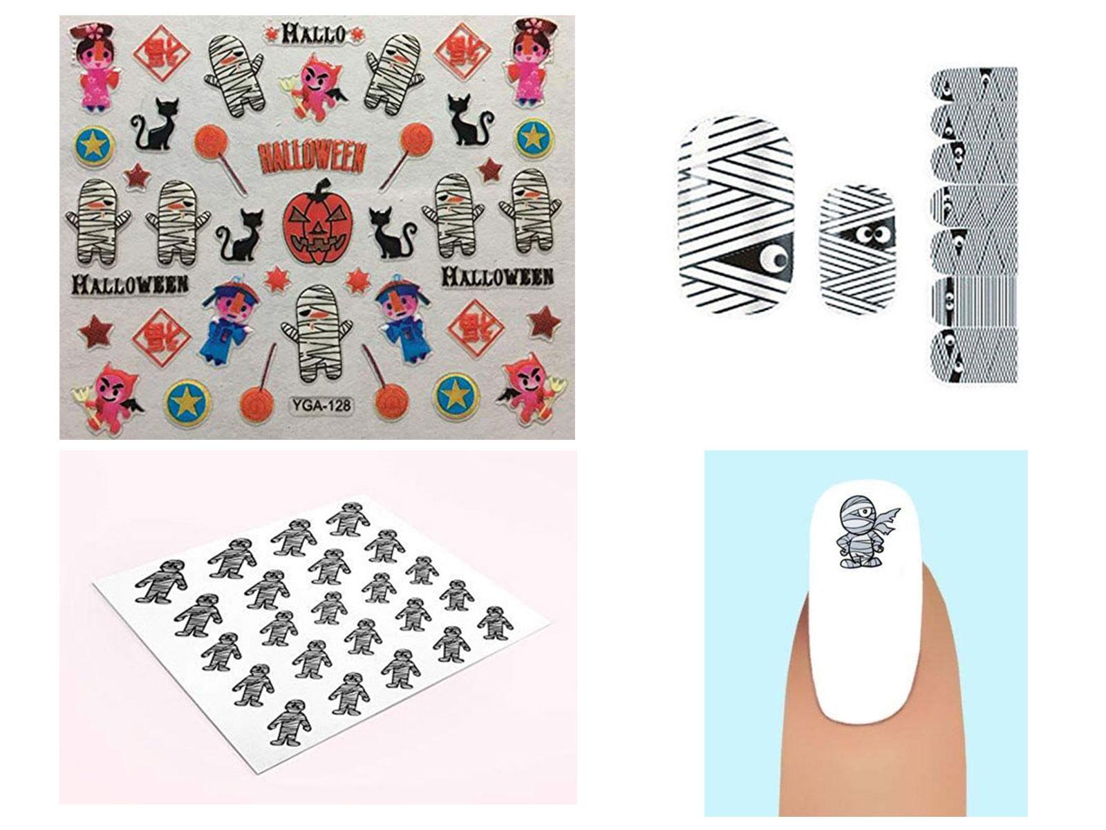 Halloween-Mummy-Nail-Art-Stickers-Decals-Designs-Trends-2019-F