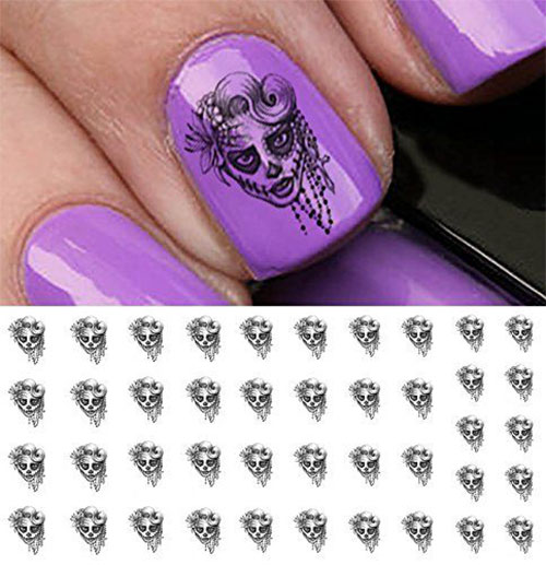 Skull-Nail-Art-Stickers-Designs-Trends-For-Halloween-2019 -Monster-Nails-2