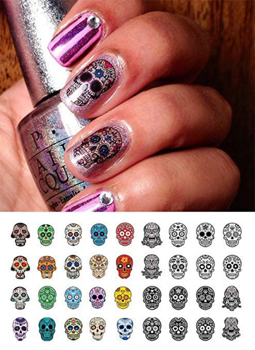 Skull-Nail-Art-Stickers-Designs-Trends-For-Halloween-2019 -Monster-Nails-4