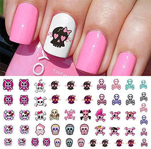 Skull-Nail-Art-Stickers-Designs-Trends-For-Halloween-2019 -Monster-Nails-5