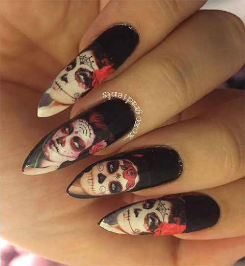 25-Halloween-Inspired-Zombie-Nails-Art-Designs-Ideas-2019-The-Walking-Dead-19