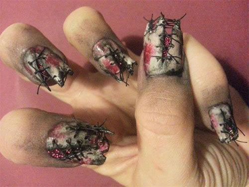 25-Halloween-Inspired-Zombie-Nails-Art-Designs-Ideas-2019-The-Walking-Dead-23