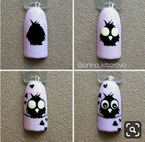 12-Step-By-Step-Halloween-Owl-Nails-Art-Tutorials-For-Beginners-2019-10