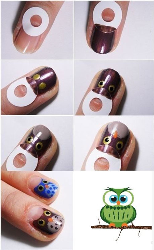 12-Step-By-Step-Halloween-Owl-Nails-Art-Tutorials-For-Beginners-2019-14