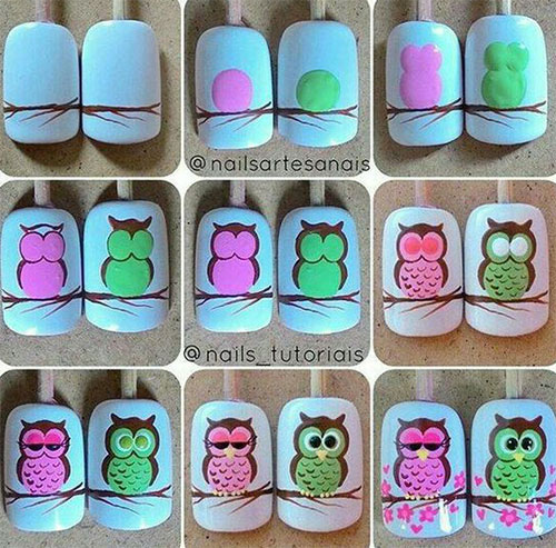 12-Step-By-Step-Halloween-Owl-Nails-Art-Tutorials-For-Beginners-2019-5