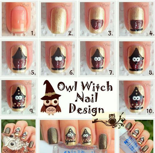 12-Step-By-Step-Halloween-Owl-Nails-Art-Tutorials-For-Beginners-2019-6