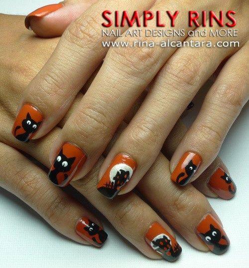 20-Spooky-Halloween-Black-Cat-Nails-Art-Designs-Ideas-2019-6