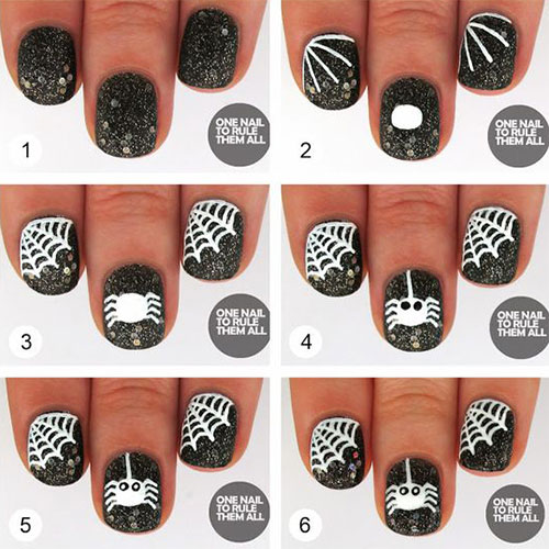 Creative-Spider-Spiderweb-Halloween-Nails-Art-Tutorials-For-Beginners-2019-3