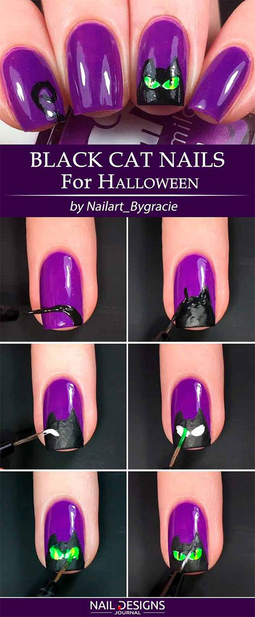 Easy-Step-By-Step-Black-Cat-Halloween-Nails-Art-Tutorials-For-Learners-2019-1