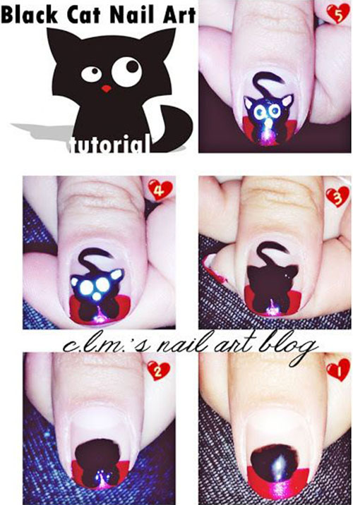Easy-Step-By-Step-Black-Cat-Halloween-Nails-Art-Tutorials-For-Learners-2019-4