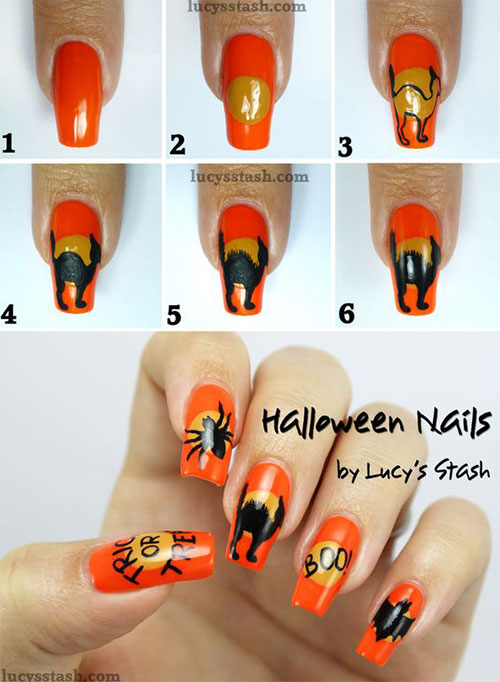 Easy-Step-By-Step-Black-Cat-Halloween-Nails-Art-Tutorials-For-Learners-2019-6