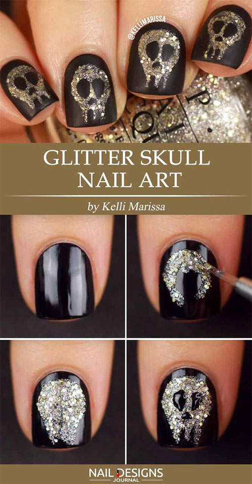 Simple-Step-By-Step-Skull-Halloween-Nails-Art-Tutorials-For-Learners-2019-2