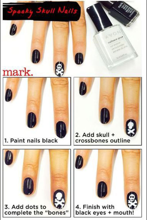 Simple-Step-By-Step-Skull-Halloween-Nails-Art-Tutorials-For-Learners-2019-3