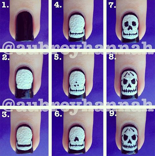 Simple-Step-By-Step-Skull-Halloween-Nails-Art-Tutorials-For-Learners-2019-5