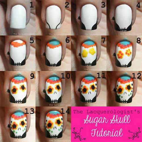 Simple-Step-By-Step-Skull-Halloween-Nails-Art-Tutorials-For-Learners-2019-6