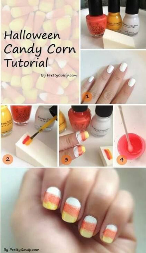 Step-By-Step-Halloween-Candy-corn-Nails-Art-Tutorials-For-Learners-2019-1