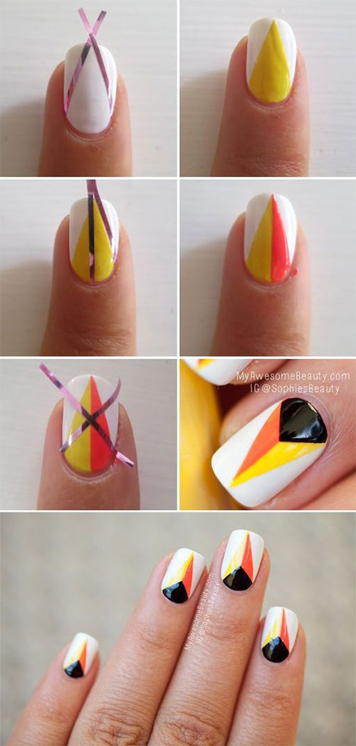 Step-By-Step-Halloween-Candy-corn-Nails-Art-Tutorials-For-Learners-2019-2