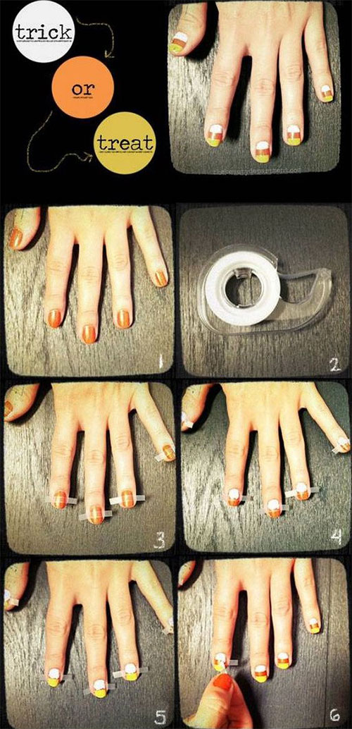 Step-By-Step-Halloween-Candy-corn-Nails-Art-Tutorials-For-Learners-2019-3