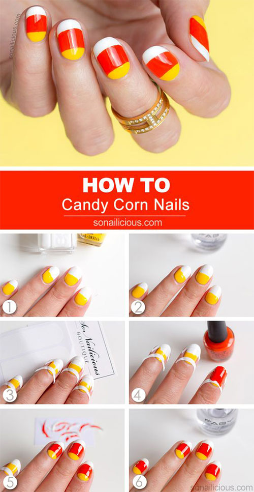 Step-By-Step-Halloween-Candy-corn-Nails-Art-Tutorials-For-Learners-2019-5