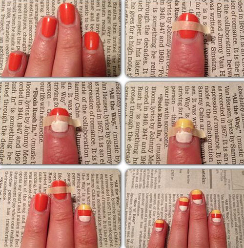 Step-By-Step-Halloween-Candy-corn-Nails-Art-Tutorials-For-Learners-2019-6