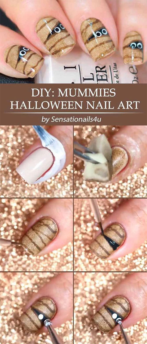 Step-By-Step-Halloween-Mummy-Nails-Art-Tutorials-For-Learners-2019-1