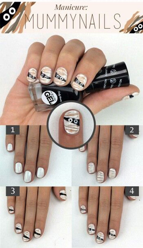 Step-By-Step-Halloween-Mummy-Nails-Art-Tutorials-For-Learners-2019-2