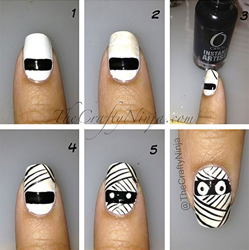 Step-By-Step-Halloween-Mummy-Nails-Art-Tutorials-For-Learners-2019-3