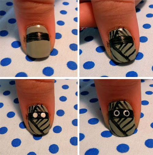 Step-By-Step-Halloween-Mummy-Nails-Art-Tutorials-For-Learners-2019-4