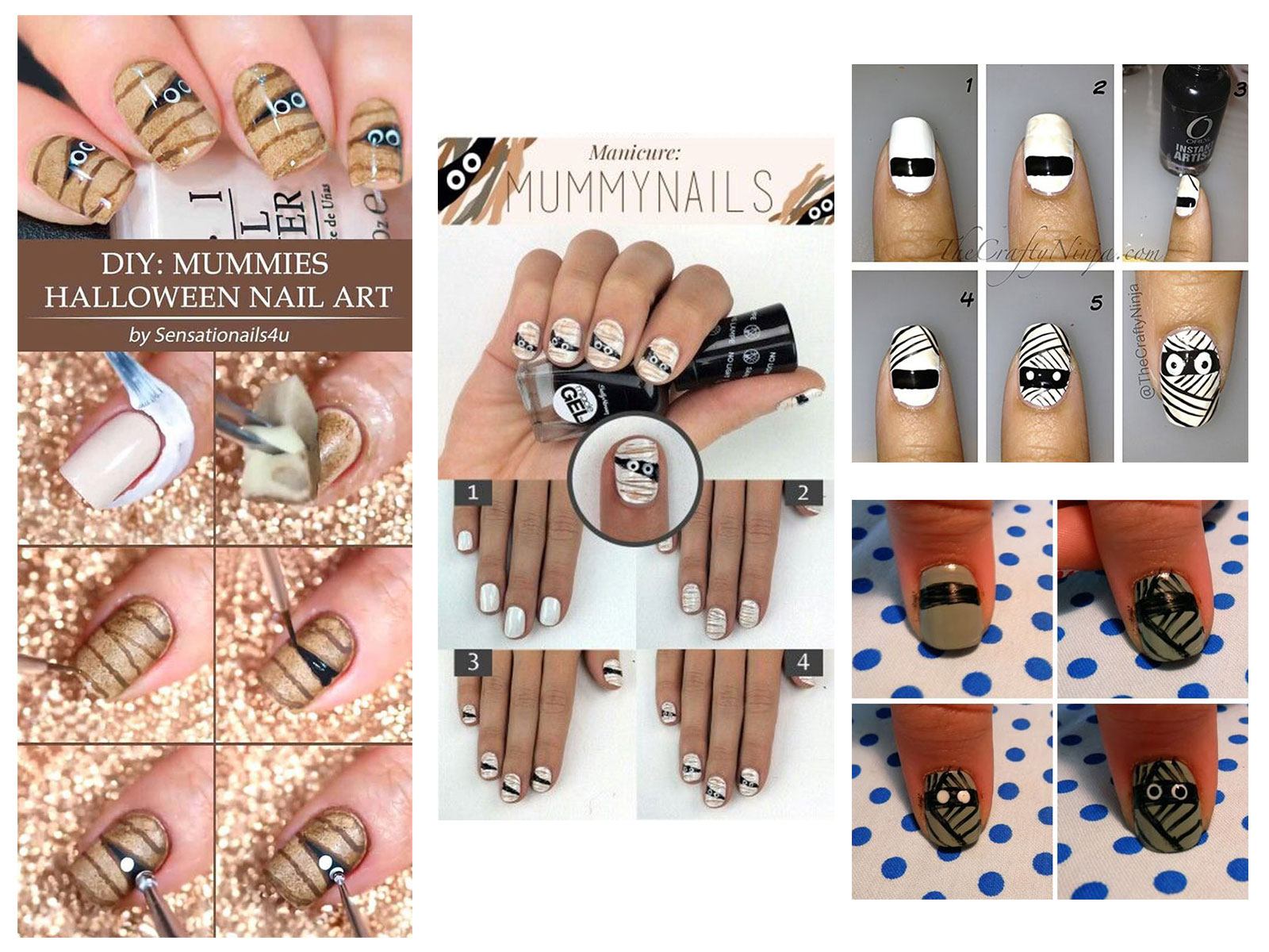 Step-By-Step-Halloween-Mummy-Nails-Art-Tutorials-For-Learners-2019-F
